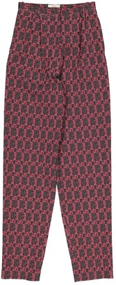 Celine Red Cotton Trousers for Women