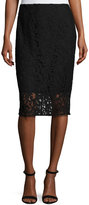 T Tahari Lace-Overlay Pencil Skirt, Black