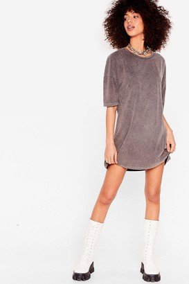 Nasty Gal Womens Acid Wash the Record Tee Dress - Grey - 6, Grey