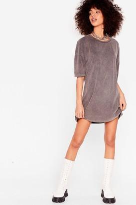 Nasty Gal Womens Acid Wash the Record Tee Dress - Grey