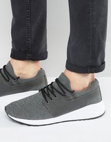 Pull&bear Runner Trainers With Contrast Trim In Grey