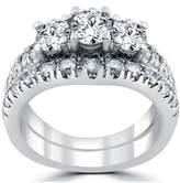 Pompeii3 1 1/2 Ct 3-stone Diamond Engagement Ring Matching Wedding Band Set White Gold.