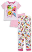 AME Sleepwear Little Girls Shopkins Pajama Tee, Shorts and Pants Set