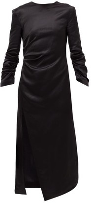 A.W.A.K.E. Mode Gathered Satin Midi Dress - Black