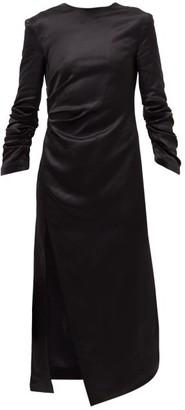 A.W.A.K.E. Mode Gathered Satin Midi Dress - Black