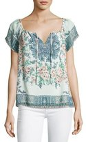 Joie Taj Floral-Print Short-Sleeve Top, Blue/Orange