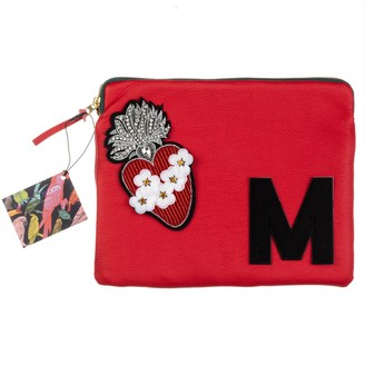 Laines London Embellished Flower Heart Personalised Classic Leather Clutch Bag - Large - Red & Black