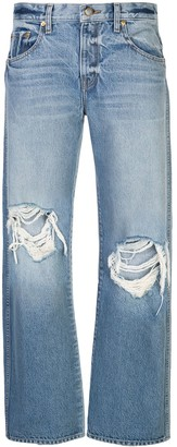KHAITE Distressed Straight Fit Jeans