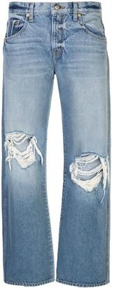KHAITE Distressed Straight Fit Jeans