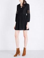 Sandro Floral-lace and chiffon mini dress