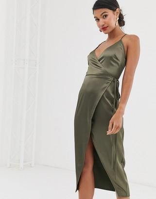 Asos Design DESIGN cami midi wrap dress in satin-Green