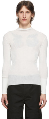 Dion Lee White Sheer Ribbed Turtleneck