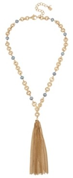 Robert Lee Morris Soho Mixed Pearl & Link Tassel Y-Shaped Necklace