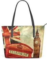 WOZO Vintage Big Ben London PU Leather Shoulder Tote Bag Purse for Women Girls