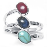 SPARKLE ALLURE Multicolor Three-Stone Silver-Plated Brass Ring