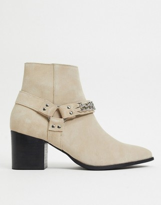ASOS DESIGN heeled chelsea boots with pointed toe in stone suede with strap detail