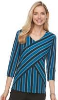 Dana Buchman Women's Printed Bias Cut V-Neck Top