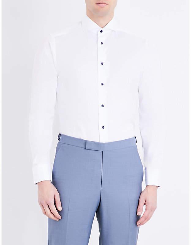 Eton Contrast-button slim-fit cotton shirt