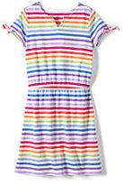 Classic Girls Plus Novelty Sleeve Pattern Dress-White Multi Stripes