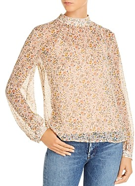 French Connection Delmira Printed Sheer Top