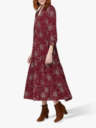 Monsoon Eve Spot Midi Dress, Burgundy