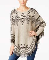NY Collection Petite Fringe Poncho Sweater