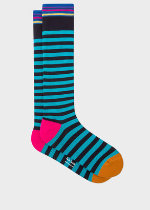 Paul Smith Men's Turquoise Stripe 'A Sock To Travel In'