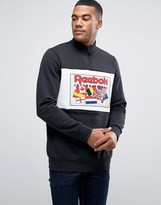 Reebok Retro Flag Half Zip Sweat In Black Bk6511