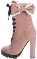 RED Valentino Shearling Bow Ankle Boots