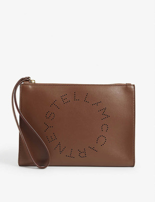 Stella McCartney Logo-perforated faux-leather pouch