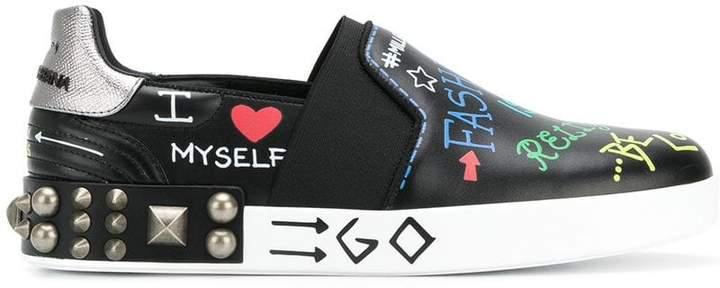 Dolce & Gabbana Portofino slip-on sneakers with Mural print
