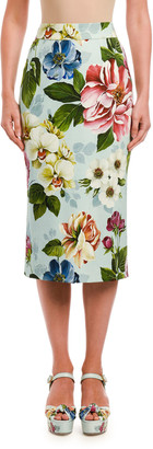 Dolce & Gabbana Tubino Floral-Print Midi Skirt