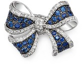 Bloomingdale's Diamond and Sapphire Bow Pin in 14K White Gold