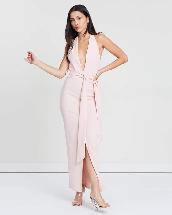 Missguided Plunge Tie Waist Midaxi Dress