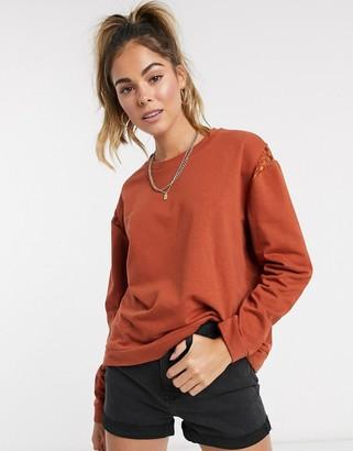 JDY dream long sleeve cropped jumper in rust
