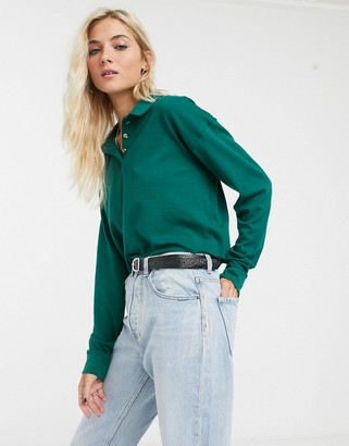 Topshop long sleeve polo top in green