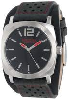 Kenneth Cole Reaction Unisex RK1329 Street Silver Case Black Dial Black Biker Cuff Strap Watch