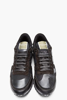 Valentino Black Leather Camo Print Sneakers