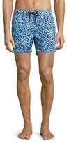 Moncler Geo-Print Swim Trunks, Blue/Black