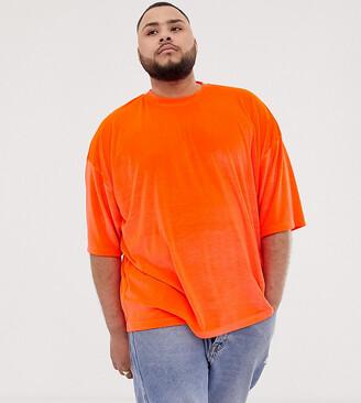 Asos Design DESIGN Plus oversized t-shirt with half sleeve in neon orange velour