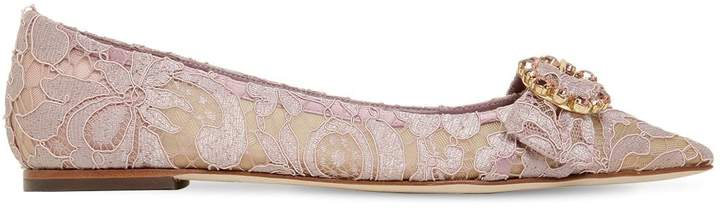 Dolce & Gabbana 10mm Bellucci Crystals Lace Flats