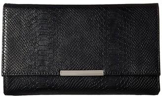 Jessica McClintock Nora Metallic Snake Large Envelope Clutch (Gold) Clutch Handbags