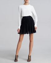 Oscar de la Renta Pleated Lace-Trim Skirt