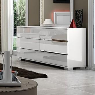 Orren Ellis Godolphin 6 Drawer Double Dresser Orren Ellis Color: White Lacquer