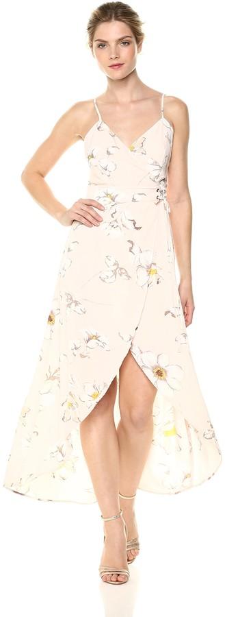 J.o.a. Women's Sleeveless Faux WRAP Dress with Tulip Hem
