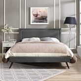 Modway Jessamine Fabric Platform Bed with Round Splayed Legs in Gray