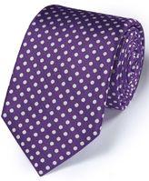 Charles Tyrwhitt Purple Silk Classic Oxford Spot Tie Size OSFA