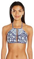 Jessica Simpson Women's Patched up Ditsy Floral Adjustable Tie Halter High Neck Cut Out Bikini Top