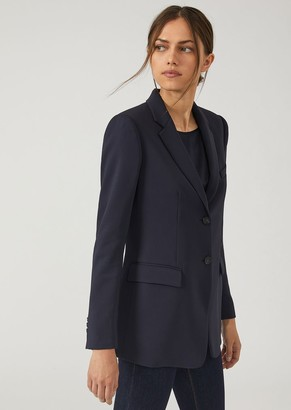 Emporio Armani Single-Breasted Two-Button Jacket In Stretch Tricotine