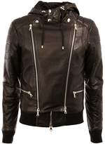 Balmain hooded biker jacket